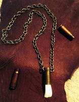 Buffalo and Bullet Casing Chain Necklace SOLD by lamelobo
