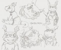 Guilmon Sketches by shadowkyle89