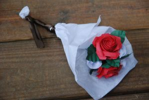 Origami Red Rose Wedding Bouquet by lisadeng