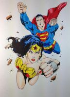WonderWoman Superman  flying colored by SSGJoey