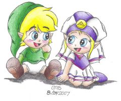 Baby Link and Baby Zelda by cmsimeon589