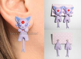 Espeon Pokemon Handmade Clinging Earrings by GeekOnDreamland