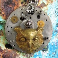 Great Horned Owl Necklace by clockwork-zero