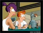 Leela, Fry and Bender by ShearerM4