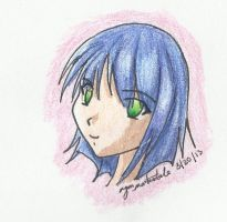 Anime girl in color pencil by Chezza-yume