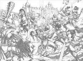 Conan and Red Sonja vs Ogres Commission by MarkMarvida