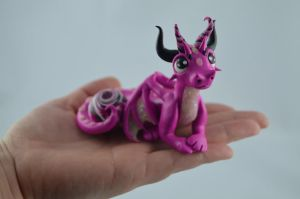 Pink Dragon With A Gem by claymeeples