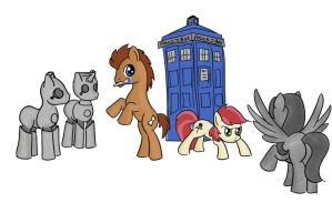 The Doctor, Rose, Weeping Pegasus, and Cyberponies by TenSecondsFlat