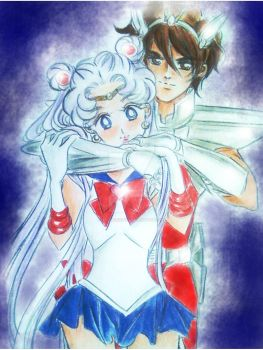 usagi and seiya by zelldinchit