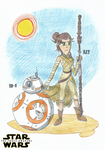 Rey and BB-8 - Star Wars: The Force Awakens by FelixToonimeFanX360