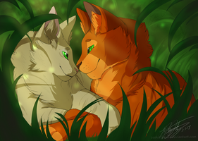 Firestar and Sandstorm by CookieFennec