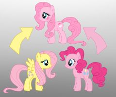Pony Fusion: Fluttershy And Pinkie Pie by Willemijn1991