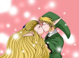 Zelda and Link Kiss by TheHeroine