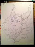 Maleficent sketch WIP by AokiBengal