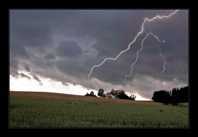 Thunderstorm over a Farm by Hartmut-Lerch