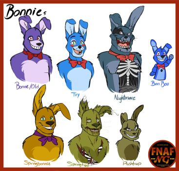 FNAFNG_Bonnie Versions by NamyGaga