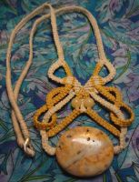 Goldenrod Crazy Lacy Stone/Macrame Necklace by BellyLaughBeads