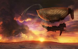 Airship At Sunset by musegames