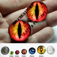 Red/Yellow Glass Eyes for Pendants by Create-A-Pendant