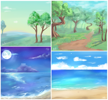 Scenery doodles by Akibun