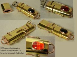 8GB Steampunk flashdrive w Garnet by gokusonwing0