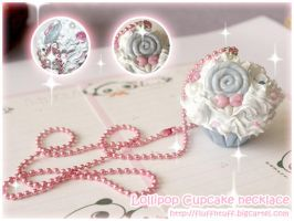 Lollipop Cupcake Necklace by Fluffntuff