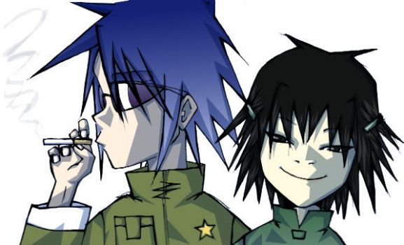 Noodle and 2D by kazenokibou