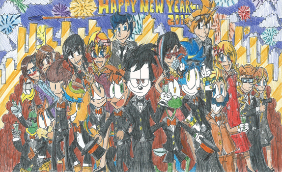 Happy New Year 2015, inclusing Me + my characters! by FelixToonimeFanX360