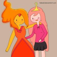 Flame Princess and Princess Bubblegum by liebedi