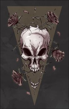 Skull roses color by Anny-D