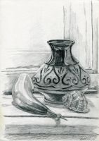 Vase, shell and horn. by Voblin
