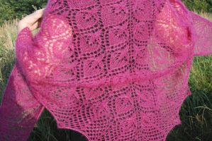Fuchsia Knit Shawl by NitkaAG