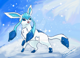 Shiny Glaceon in the snow by Emakura