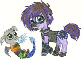 MLP FiM OCs - Sketch and Stormy by Jackie-Chaos-Wolf