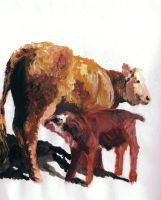Cow and Calf by Bonniemarie