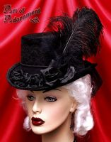 Nocturne Rose Velvet Top Hat by ArtOfAdornment