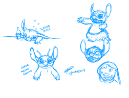 Lilo and Stitch practice sketches by Puzzlr