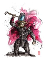 Thor sumi and watercolor by MyCKs