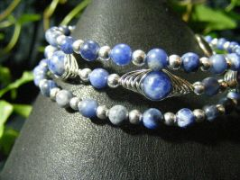 Sodalite Herringbone Bangle Bracelet by BacktoEarthCreations