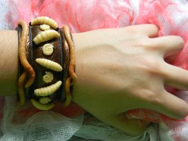 Maggot and Worms Cuff -Polymer Clay by ThePetiteShop