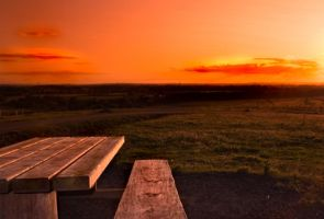 sunset and bench by svendo