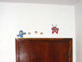 Megaman on the wall by lordmanchae