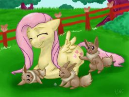 Fluttershy And the Eevees by BrackenFox