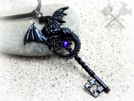 Dark Midnight Dragon Key Necklace by ArtByStarlaMoore
