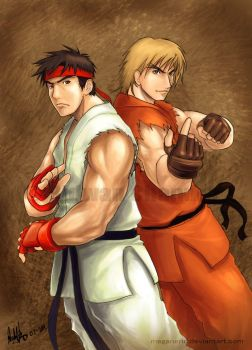 Ryu and Ken by MeganeRid