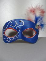 Blue, white, and red masquerade mask by maskedzone
