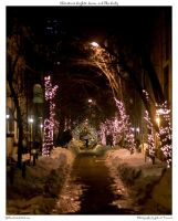 Christmas Lights, Snow, Lady by yellowcaseartist