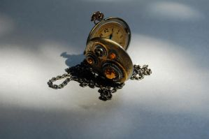 Victorian Honey Steampunk Clock Gears Necklace by A-Sharper-Spectrum