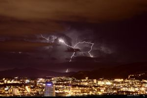 Lightening over Marseille by SkyRings