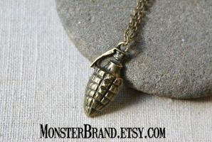 Hand Grenade Necklace by MonsterBrandCrafts